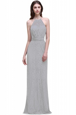 CHARLEE | Column Floor length Halter Navy blue Lace Prom Dress_5