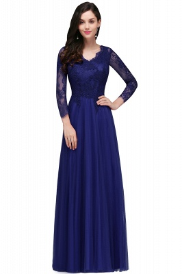 DYLAN | A-line V-neck Long Sleeves Lace Tulle Backless Prom Dresses_1