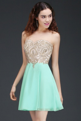 Sheath Jewel Chiffon Short Homecoming Party Dresses With Applique_2