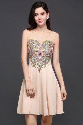 A-line Scoop Chiffon Short Homecoming Dress With Appliques_4