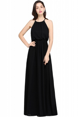 CHEYENNE | A-line Floor-length Chiffon Navy Blue Simple Prom Dress_7