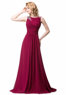 ESMERALDA | A-line Sleeveless Crew Floor-Length Chiffon Prom Dresses with Crystals_1