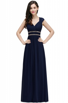 ALISON | Sheath V Neck Burgundy Chiffon Long Evening Dresses With Beads_7
