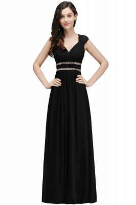 ALISON | Sheath V Neck Burgundy Chiffon Long Evening Dresses With Beads_8
