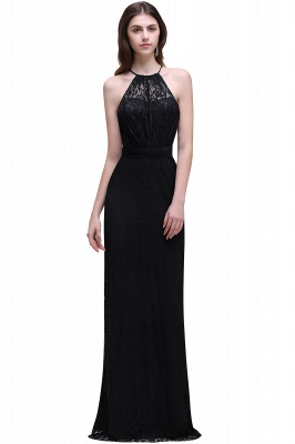 CHARLEE | Column Floor length Halter Navy blue Lace Prom Dress_4