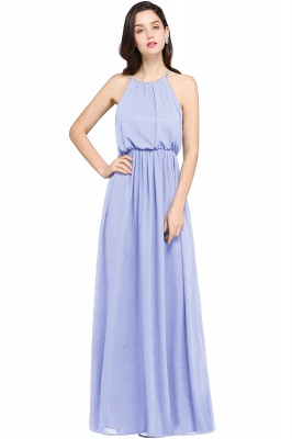 CHEYENNE | A-line Floor-length Chiffon Navy Blue Simple Prom Dress_4