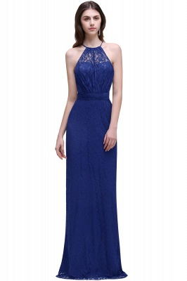 CHARLEE | Column Floor length Halter Navy blue Lace Prom Dress_2