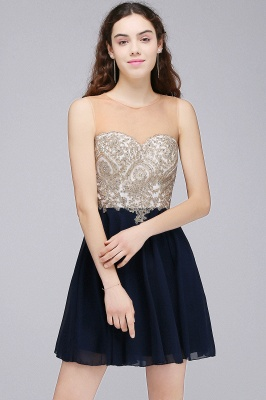 Sheath Jewel Chiffon Short Homecoming Party Dresses With Applique_1