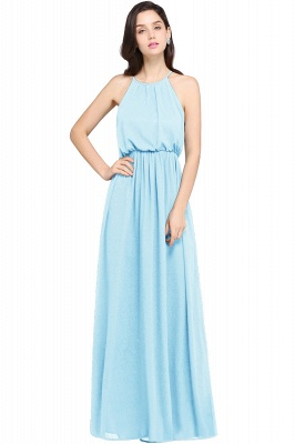 CHEYENNE | A-line Floor-length Chiffon Navy Blue Simple Prom Dress_5