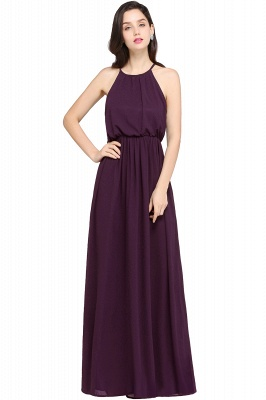 CHEYENNE | A-line Floor-length Chiffon Navy Blue Simple Prom Dress_3