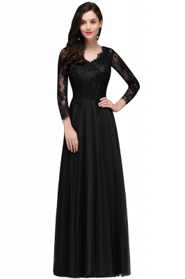 DYLAN | A-line V-neck Long Sleeves Lace Tulle Backless Prom Dresses_2