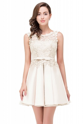 ADELAIDE | A-line Knee-length Satin Homecoming Dress with Lace_1