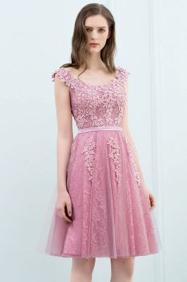 WILMA | Ball Gown Illusion Neckline Tea Length Lace Tulle Dusty Pink Prom Dresses with Beading_13