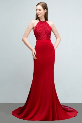 Mermaid Halter Floor Length Appliqued Beads Red Prom Dresses with Sash_5