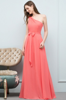 A-line One Shoulder Floor Length Chiffon Prom Dresses with Bow Sash_11
