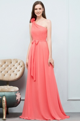 A-line One Shoulder Floor Length Chiffon Prom Dresses with Bow Sash_9