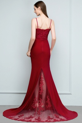 Mermaid Spaghetti Sweetheart Long Burgundy Appliques Prom Dresses with Beads_8