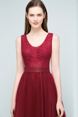JULIANNA | A-line Scoop Long Sleevless Lace Top Burgundy Tulle Prom Dresses_6