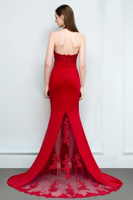 Mermaid Halter Floor Length Appliqued Beads Red Prom Dresses with Sash_2