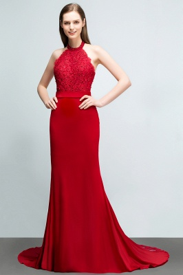 Mermaid Halter Floor Length Appliqued Beads Red Prom Dresses with Sash_6