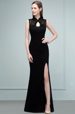 Mermaid Sleeveless Keyhole Neckline Floor Length Lace Prom Dresses with Crystals_11