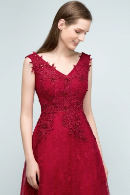 JUDITH   A-line V-neck Long Sleeveless Lace Appliques Prom Dresses with Crystals_6