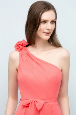 A-line One Shoulder Floor Length Chiffon Prom Dresses with Bow Sash_7
