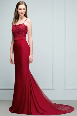 Mermaid Spaghetti Sweetheart Long Burgundy Appliques Prom Dresses with Beads_5