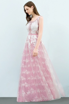 A-line Sleeveless Floor Length Tulle Appliqued Prom Dresses with Sash_4