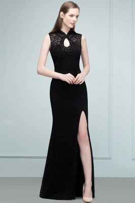Mermaid Sleeveless Keyhole Neckline Floor Length Lace Prom Dresses with Crystals_8