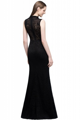 Mermaid Sleeveless Keyhole Neckline Floor Length Lace Prom Dresses with Crystals_3