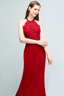 Mermaid Halter Floor Length Appliqued Beads Red Prom Dresses with Sash_4