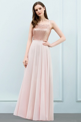 JORDYN | A-line Floor Length Spaghetti Sequined Top Chiffon Prom Dresses_2