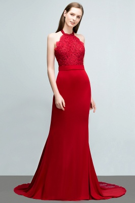 Mermaid Halter Floor Length Appliqued Beads Red Prom Dresses with Sash_7