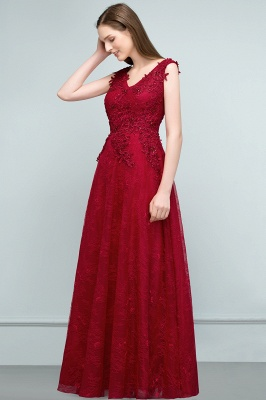 JUDITH   A-line V-neck Long Sleeveless Lace Appliques Prom Dresses with Crystals_2