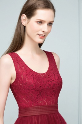 JULIANNA | A-line Scoop Long Sleevless Lace Top Burgundy Tulle Prom Dresses_9
