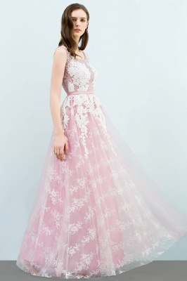 A-line Sleeveless Floor Length Tulle Appliqued Prom Dresses with Sash_7