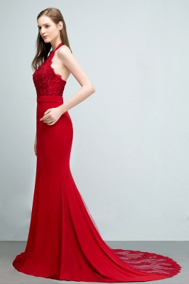 Mermaid Halter Floor Length Appliqued Beads Red Prom Dresses with Sash_8