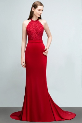 Mermaid Halter Floor Length Appliqued Beads Red Prom Dresses with Sash_3
