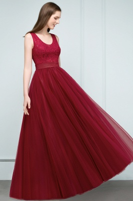 JULIANNA | A-line Scoop Long Sleevless Lace Top Burgundy Tulle Prom Dresses_4