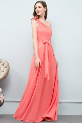 A-line One Shoulder Floor Length Chiffon Prom Dresses with Bow Sash_10