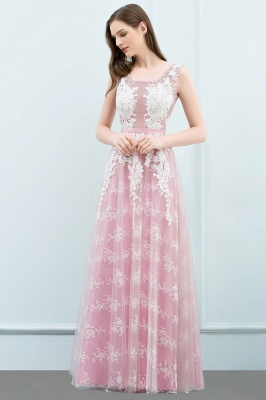 A-line Sleeveless Floor Length Tulle Appliqued Prom Dresses with Sash_6