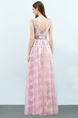 A-line Sleeveless Floor Length Tulle Appliqued Prom Dresses with Sash_3