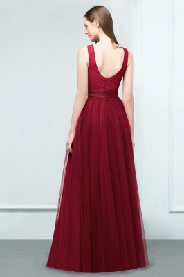 JULIANNA | A-line Scoop Long Sleevless Lace Top Burgundy Tulle Prom Dresses_3