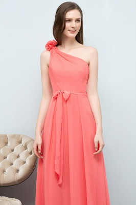 A-line One Shoulder Floor Length Chiffon Prom Dresses with Bow Sash_4