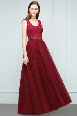 JULIANNA | A-line Scoop Long Sleevless Lace Top Burgundy Tulle Prom Dresses_7