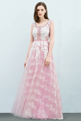 A-line Sleeveless Floor Length Tulle Appliqued Prom Dresses with Sash_2