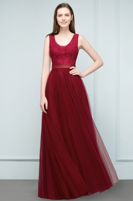 JULIANNA | A-line Scoop Long Sleevless Lace Top Burgundy Tulle Prom Dresses_5