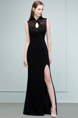 Mermaid Sleeveless Keyhole Neckline Floor Length Lace Prom Dresses with Crystals_10