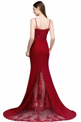 Mermaid Spaghetti Sweetheart Long Burgundy Appliques Prom Dresses with Beads_3
